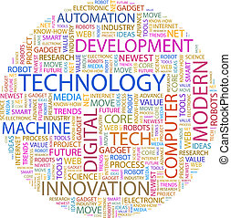 TECHNOLOGY. Word cloud illustration. Tag cloud concept...