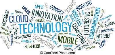 Technology word cloud illustration - Vector typographical...