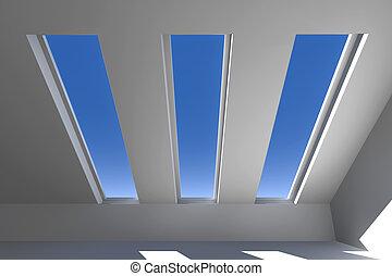 techo, 1, debajo