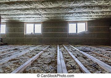 techo, barrera, ático, marco de la casa, material, fibra de vidrio, paredes, construction., wool., roca, aislamiento, debajo, frío, mansard, de madera