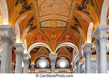 techo, biblioteca, washington dc, congreso