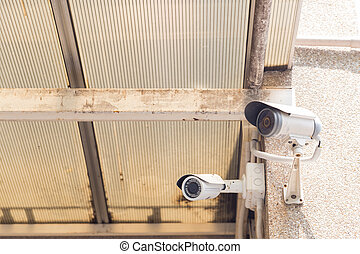 techo, cámara, cctv, montado, wall.