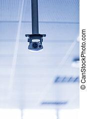 techo, cámara, suspendido, vigilancia