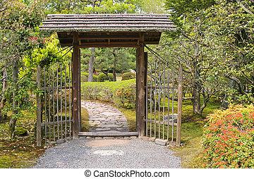 techo, dentro, de madera, puerta, jardín