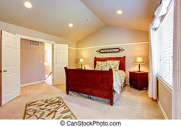 techo, dormitorio, luz, abovedado