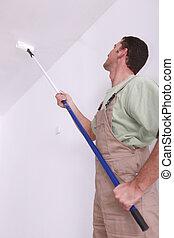 techo, extensión, pintura, usuario, rodillo, hombre