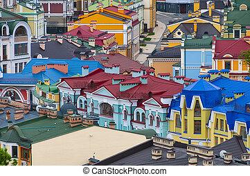 techo, histórico, tapas, edificios., colorido