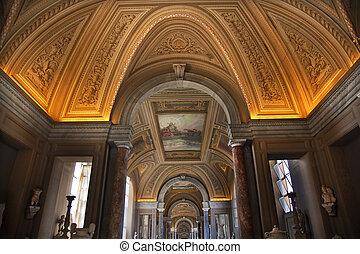 techo, museo, dentro, vaticano, roma, italia
