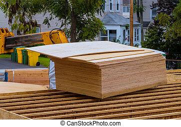 techo, nuevo hogar, de madera, ser, levantado, braguero, camión de elevador de carga, auge
