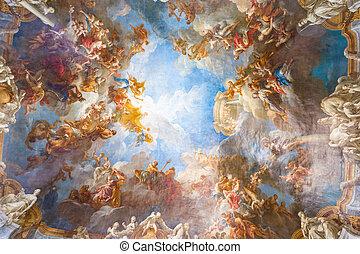techo, palacio, parís, francia, pintura, versailles