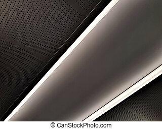 techo, panel, en, el, avión