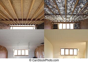 techo, pasos, construcción