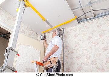 techo, perforación, albañil