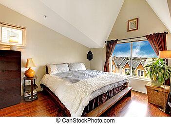 techo saltado, agradable, dormitorio