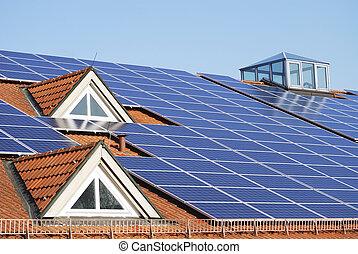 techo, sistema, photovoltaic