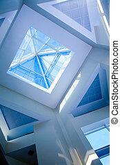 techo, transparente, en, edificio de oficinas