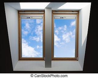 techo, windows, el pasar por alto, el, azul, levemente, cielo nublado