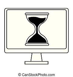 techonology, 漫画, コンピュータ, 黒, 白いスクリーン, アイコン