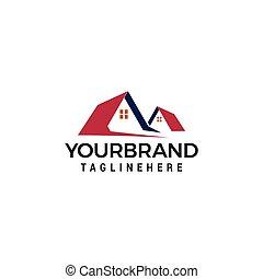 techos, casa, vector, plantilla, logotipo