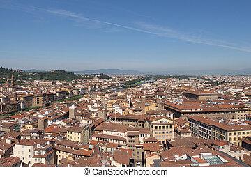 techos, italy., soleado, toscana, día, florentino, cityscape, río arno, rojo