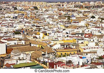 techos, y, blanco, casas, vista, de, giralda, campana, tower., sevilla, o, sevilla, andalucía, españa
