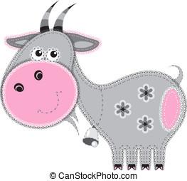 tecido, animal, cutout., cabra
