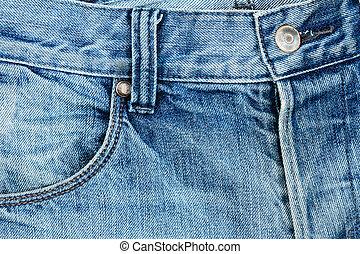 tecido azul, calças brim, bolso