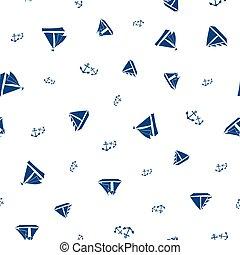 tecido, barcos, férias, verão, grande, náutico, experiência., âncoras, conjuntos, tudo, estilo, velejando, padrão, desporto, seamless, vetorial, marinha, design., estêncil, embalagem, sobre, impressão azul, produtos, branca