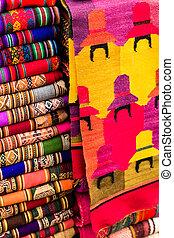 tecido, coloridos, américa sul, mercado, peru