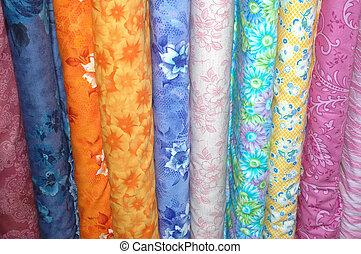 tecido, coloridos, parafuso