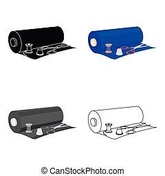 tecido, fio, coil., símbolo, cosendo, web., dedal, ilustração, rolo, equipamento, único, vetorial, tesouras, ícone, estilo, caricatura, estoque