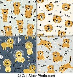 tecido, ilustração, berçário, seamlesss, engraçado, jogo, infantil, tigres, leão, crianças, padrão