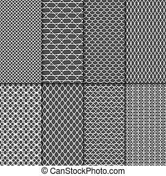 tecido, patterns., seamless, cobrança, pano, vetorial, malhas, rede, textures., renda