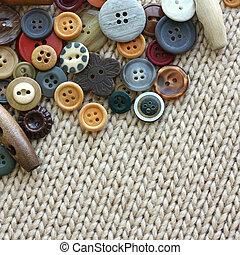 tecido, variedade, vindima, disperso, botões, fundo, tricote
