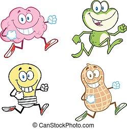 tecken, 3., -, kollektion, joggning