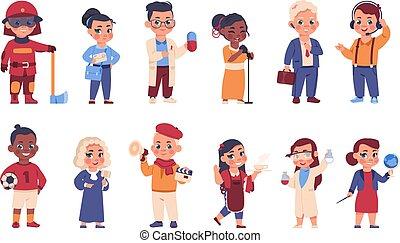 tecken, brandman, glad, ung, ha på sig, val, kostymen, vektor, olik, lurar, uniform., kostymer, occupations., läkare, domare, eller, brevbärare, sätta, tecknad film, barn, profession.