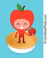 tecken, friedly, tecknad film, äpple