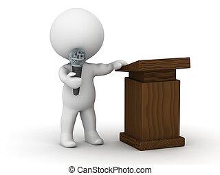 tecken, högtalare, publik, 3