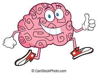 tecken, hjärna, le, joggning