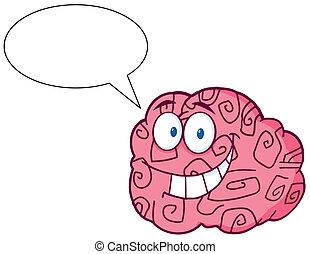 tecken, hjärna, talande