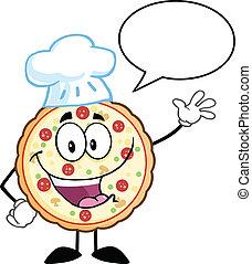tecken, kock, rolig, vinka, pizza