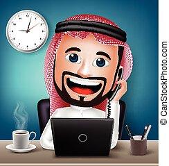 tecken, man, arab, arbete
