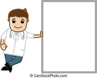 tecken, medicinsk, -, tecknad film, läkare