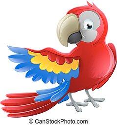 tecken, papegoja, djur, tecknad film