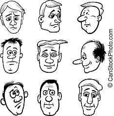 tecken, sätta, huvuden, tecknad film, män
