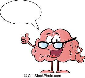 tecken, tecknad film, hjärna