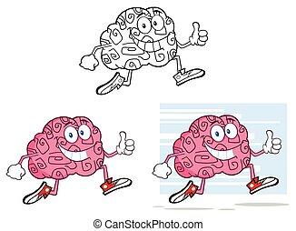 tecken, tecknad film, hjärna, joggning