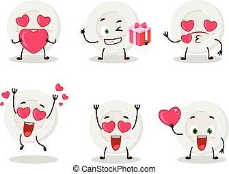 tecken, tecknad film, uttryck, emoticon, söt, kärlek, tallrik, ilsket