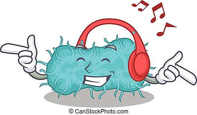 tecknad film, bakterie, begrepp, design, lyssnande, ...