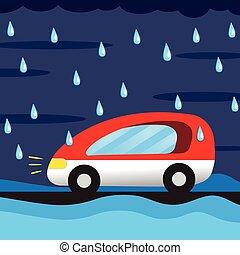 tecknad film, bil, i regna
